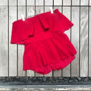 DO+BE Red Sleeveless Zip Up Empire Waist Blouse